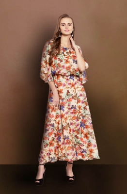 Casual Tropical Floral Fit and Flare Maxi Dress with Cape Sleeves