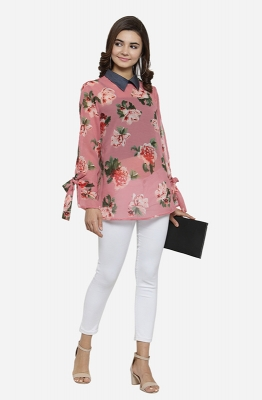 Pink Printed Collared Shirt Style Casual Top with Black Tanks Underneath