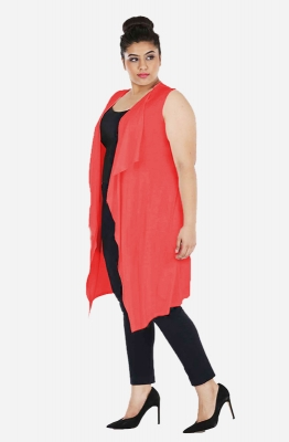 Solid Coral Asymmetrical Casual Shrug