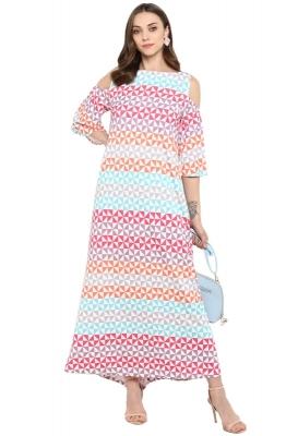 Cold-Shoulder Geometric Print Casual Maxi Dress