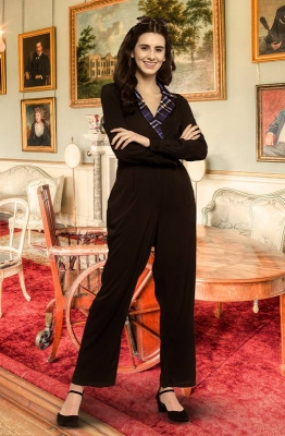 Black Formal Long Sleeve Jumpsuit with Contrast Gingham Collar