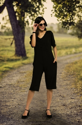 Black Knee-length Casual Jumpsuit
