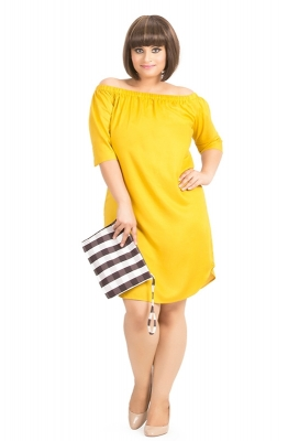 Yellow Off Shoulder Straight-fit Casual Dress