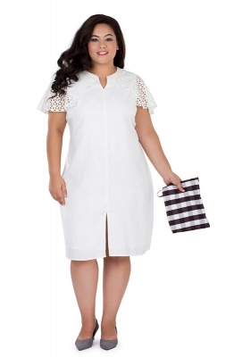 White Straight-fit Schiffli Party Dress