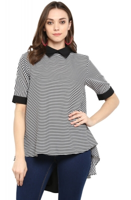 Striped Monochrome High-Low Casual Top