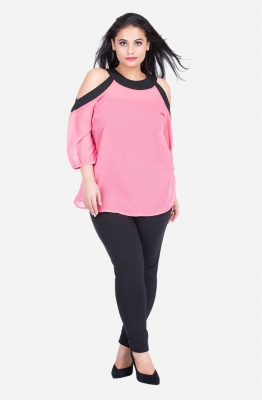 Pink Georgette Cold Shoulder Top