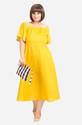 Off- Shoulder Fit and Flare Dress