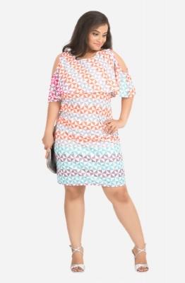 Cold Shoulder Printed Dress