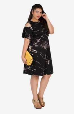 Elegant Tye-Dye Cold Shoulder Dress