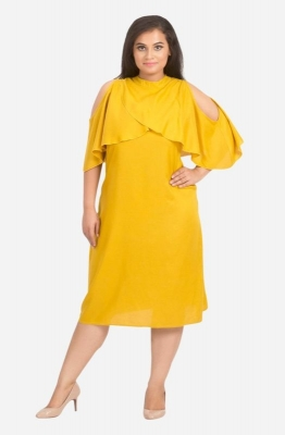 Overlapping Cape A-Line Dress