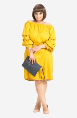 Off Shoulder Layer Sleeve Dress