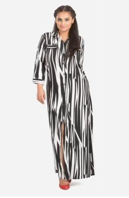Abstract Print Maxi Shirt Dress