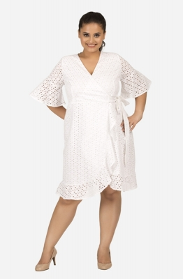 White Schiffly Wrap Around Dress with Ruffle Sleeves