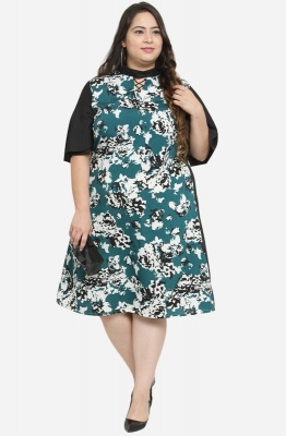 Mandarin Collar A Line Dress with Flare Sleeves
