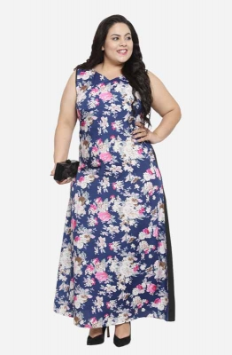 Formal Floral Sleeveless Maxi Plus Size Dress