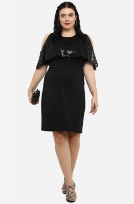 Solid Black Straight Fit Party Dress with Cold Shoulders