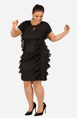Black Ruffled Knee-Length  Dress