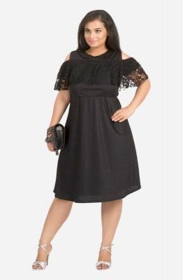 Lace Ruffle Cold Shoulder Dress