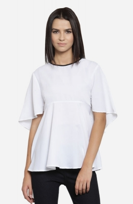 White Solid Round Neck Flared Top