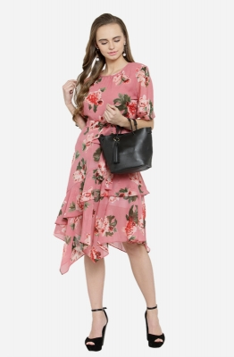 Casual Floral Drape Style Dress with Cape Sleeves and Waist Tie