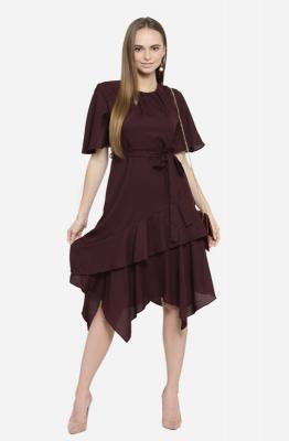 Casual Burgundy Drape Style Dress with Waist Tie and Ruffled Asymmetrical Hemline