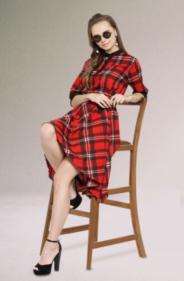 Casual Short Sleeve Red and Black Checkered Short Dress with a High and Low Hemline