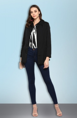 Black Solid A-line Casual Open Front Jacket for Women