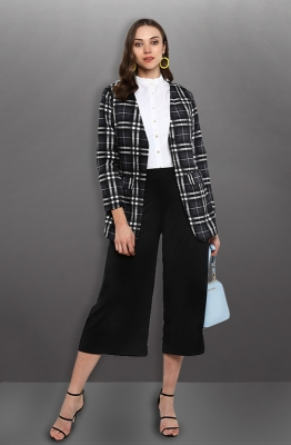 Formal Gingham Print Long Sleeve Blazer