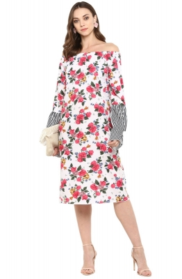 Casual Off-shoulder straight-fit Floral Print Dress with Contrast Bell Sleeves