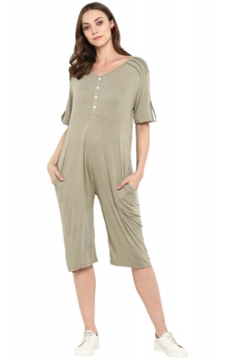 Casual Knee-length Button Placket Jumpsuit