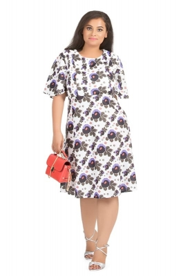 Fit & Flare Abstract Floral Dress