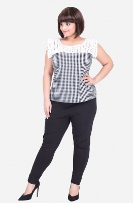 Contrast Lace panel Gingham Top