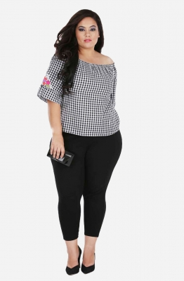 Gingham print Ruffled Sleeve Off Shoulder Top