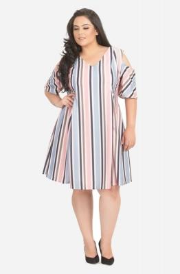 Summer Stripe Pleated Cold Shoulder Dress