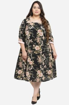 Round Neck A line Knee Length Dress