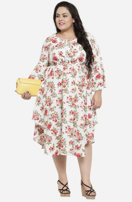 Asymmetric Floral Casual Fit and Flare Dress