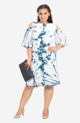 Cotton Tie Dye Knee Length Dress