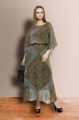 Casual Asymmetrical Print Fit and Flare Maxi Dress with Cape Sleeves
