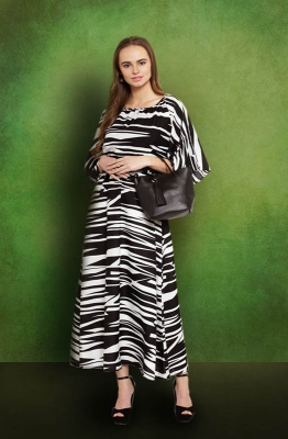 Formal Asymmetrical Black n White Pattern Fit and Flare Maxi Dress with Cowl Neck and Cape Sleeves