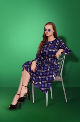 Casual Blue-Checkered Short Dress with a High and Low Hemline and Long Sleeves