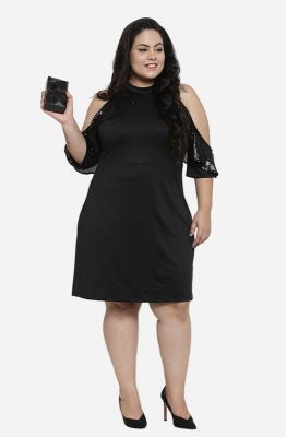 Black Frilled Cold-Shoulder A-line Party Dress