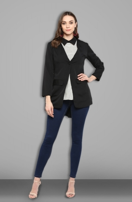 Black Single-button Formal Blazer with V-neck