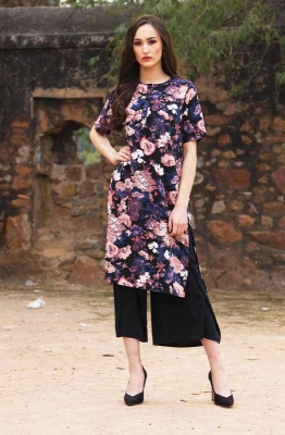 Multicolored Floral Print Kurta Set