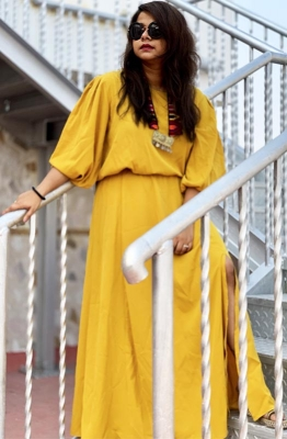 Formal Boat Neck Solid Mustard Yellow Maxi Dress with Bishop Sleeves