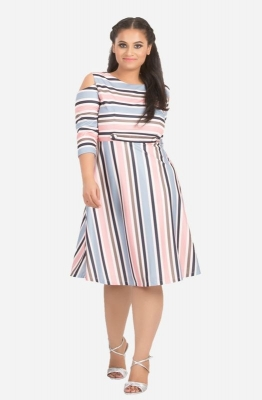 Pastel Stripe Cold Shoulder Dress