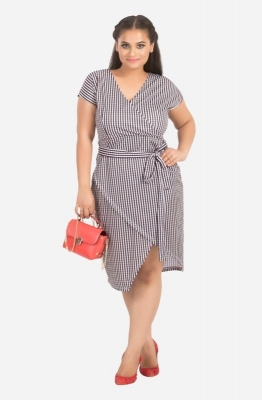 V-Neck Gingham Overlap Dress