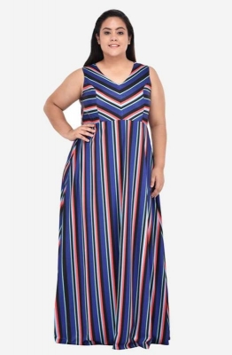 Panelled Striped Maxi Dress