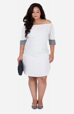 Contrast Cuff Off Shoulder Dress