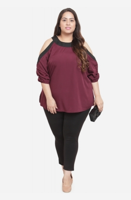 Cold shoulder Burgundy Relaxed fit Top