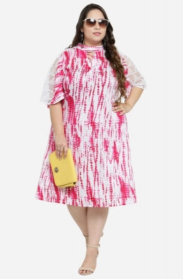 Mandarin Collar A Line Dress with Lace detail and Flare Sleeves